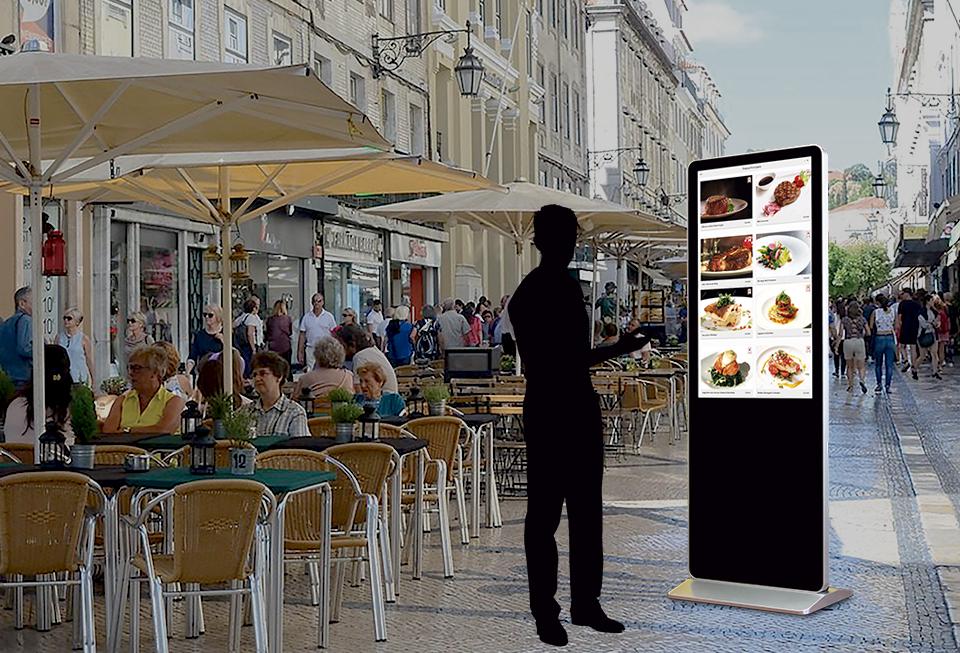 menu digital em quiosque de rua
